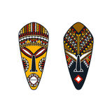 Set of two african masks of man and woman Stock Photo
