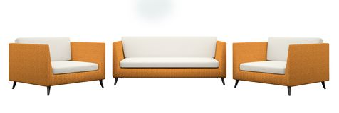 Set of the two armchairs and sofa Royalty Free Stock Photo
