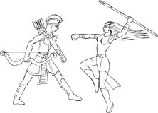 Set of two armed wonder amazon women. Fantasy set of two wonder amazon women with spear and arrows. Mythical lady warriors Stock Photos