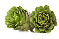 A Set of Two Artichokes. A Set of Two Fresh Artichokes Isolated on White Stock Image