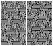 Set of Two B&W Seamless Patterns. Abstract Element Stock Images