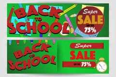 Set of two back to school banners with super sale sign up to 75% Stock Photos
