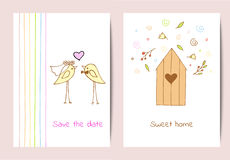 Set of two backgrounds with cute birds and a birdhouse  Royalty Free Stock Image