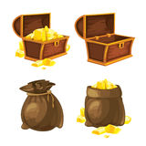 Set of two bags and chests with gold. Vector illustration. Vector Set of two bags and chests opened and closed with gold. Illustrations isolate on white Royalty Free Stock Images