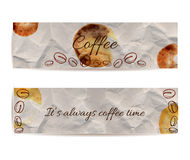Set of two banners with text coffee and it's always coffee time. Texture of knead craft paper with brown stains and spots. Hand dr. Set of banners with text Royalty Free Stock Image