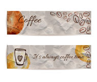 Set of two banners with text coffee and it's always coffee time. Texture of knead craft paper with brown stains and spots. Hand dr. Set of banners with text Royalty Free Stock Photos