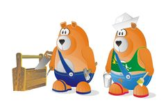 Set of two bears worker Royalty Free Stock Photography