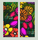 Set of two beautiful bright vector cards with colorful floral background for design project Royalty Free Stock Photo
