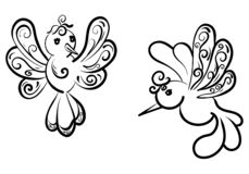 A set of two beautiful fantasy birds with curlicues royalty free illustration