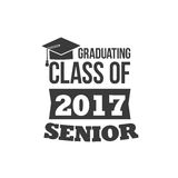 The set of two black colored senior text signs with the Graduation Cap, ribbon vector illustration. Class of 2017. The set of two black colored senior text Stock Photo