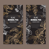 Set of two black labels for linden and barberry tea. Set of two elegant labels for linden and barberry organic herbal tea. Based on hand drawn sketch. Placed on Royalty Free Stock Images