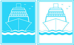 Set of two blue sign with ship Stock Images