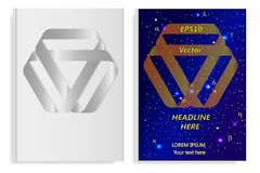 A set of two books with an abstract design of covers Mobius tape and realistic shadows. Templates of books and design of covers are in different layers Royalty Free Stock Images