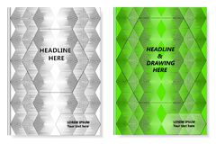 A set of two books with an abstract design of covers and realistic shadows. Templates of books and design of covers are in differe. Nt layers. Background color Stock Photo