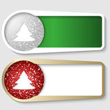 Set of two boxes. For any text with a Christmas tree stock illustration