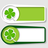 Set of two boxes. For any text with cloverleaf vector illustration