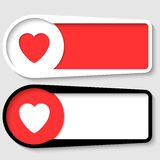 Set of two boxes. For any text with heart vector illustration