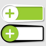 Set of two boxes. For any text with plus sign vector illustration