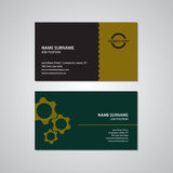 Set of two business cards with gears, USA standard Stock Photos