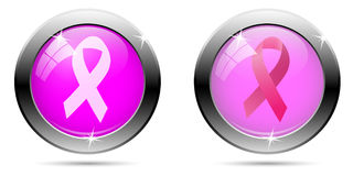 Breast cancer button Stock Image