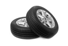 Set of two car wheels. Studio. Stock Photo
