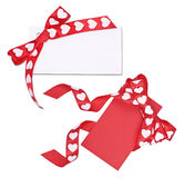 Set of two cards with bow from ribbon hearts Royalty Free Stock Images