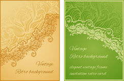 Set of two cards with diagonal floral ornament and Stock Photos