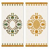 Set with two cards with floral gold arabesque ornament. design for print, covers, invitations. Set with two cards with floral gold vintage arabesque ornament Royalty Free Stock Images