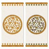 Set with two cards with floral gold arabesque ornament. design for print, covers, invitations. Set with two cards with floral gold vintage arabesque ornament stock illustration
