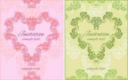 Set of two cards with floral ornament in shape. Of heart and place for text Stock Photo