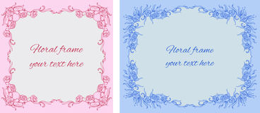 Set of two cards with floral-style frames Royalty Free Stock Photography
