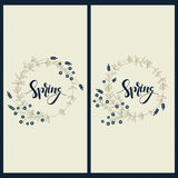 Set with two cards with hand drawn word spring in floral circle frames. Vector set with two cards with hand drawn word spring in floral circle frames vector illustration