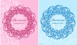 Set of two cards with round floral ornament Royalty Free Stock Images