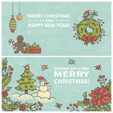 Set of two cartoon Christmas cards. Every  element is located on a separate layer. Images are cropped with Clipping Mask. Easy to edit Stock Photo