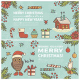 Set of two cartoon Christmas cards. Every  element is located on a separate layer. Images are cropped with Clipping Mask. Easy to edit Stock Images