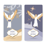 Set of two Christmas greeting cards with angels Royalty Free Stock Photo