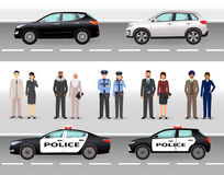 Set of two civil vehicles, two police cars, male and female policemen and civil people. Royalty Free Stock Photos