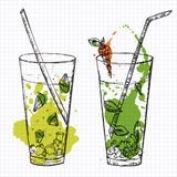 Set of two cocktails drawn on squared notebook paper. Vector illustartion Stock Photography
