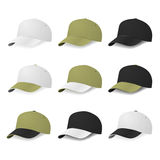 Set of two-color baseball caps with white, khaki and black colors. Stock Images