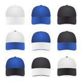 Set of two-color caps. Set of nine two-color caps - with white, blue and black colors. Vector EPS10 illustration Stock Image