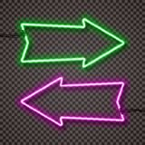 A set of two color variants of neon lamps with wires, shaped arrow pointer. Green and violet. . royalty free illustration