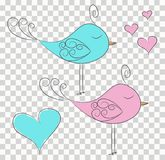 Set of two cut fabulous birds and hearts in pink and blue. Perfect to kids design cards, stickers, t-shirt prints and other things. Set of two cute fabulous Royalty Free Stock Images