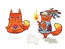 Shaman fox and yogi fox . Fun characters in cartoon style. Set of two cute baby fox characters in cartoon style. Yoga meditation in lotus pose and shaman with Royalty Free Stock Photos