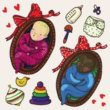 Set of two cute color babies sleeping in basket in cartoon style Stock Photo