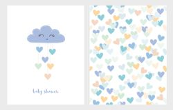 Set of Two Cute Vector Illustrations. Blue Smiling Cloud with Dropping Hearts. Blue Baby Shower Set. Set of Two Cute Vector Illustrations. Blue Smiling Cloud stock illustration