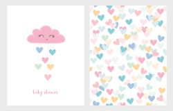 Set of Two Cute Vector Illustrations. Pink Smiling Cloud with Dropping Hearts. Pink Baby Shower Text. White Background. Colorful Bright Hearts Pattern vector illustration