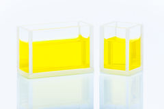 Set of two cuvettes with yellow liquid Stock Images