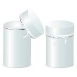 Set of two cylindrical gift boxes with a bow. Template of open and closed boxes isolated on a white background. Royalty Free Stock Photos