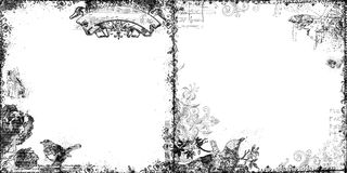 Set of two decorative floral and bird frames Stock Image