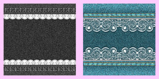Set of two denim texture with lace. Royalty Free Stock Images